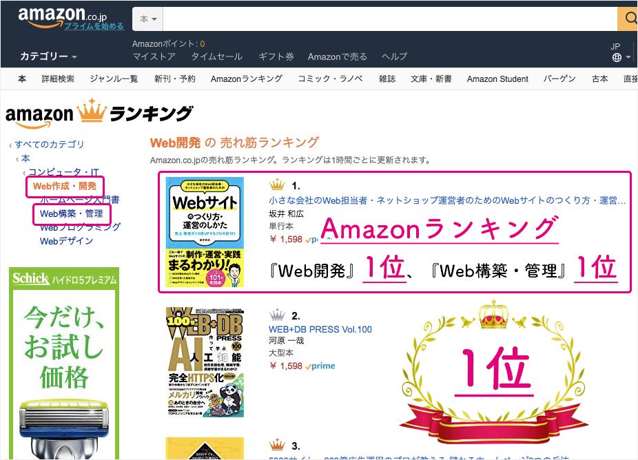 Amazonランキング『Web開発』1位、『Web構築・管理』1位